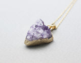 Triangle Amethyst Druzy Pendant Necklace in 2 colors, N0747G