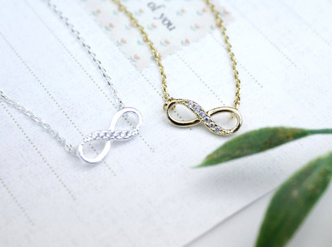 Infinity pendant necklace in silver / gold(925 sterling silver / plated over Brass)