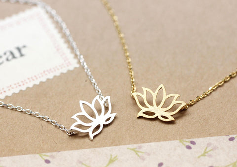 Lotus Necklace in gold / silver, N0021G