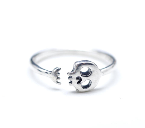 925 sterling silver Cute smile skull ring, R0914S