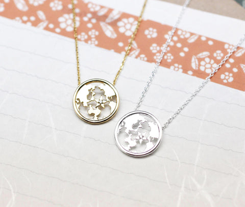 Earth Globe Pendant detailed with Cubic Zirconia Necklace(925 sterling silver / plated over Brass)