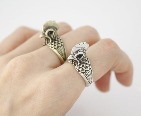 Antique Rooster Ring, Cock Ring, Animal Ring in 2 colors, R0565S
