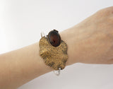 Antique style Lotus Flower leaf Statement Bangle bracelet detailed with Gemstone, B0570S
