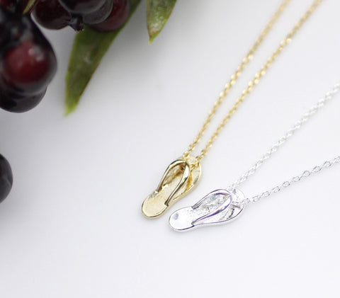 Cute FlipFlop Sandals Pendant Necklace in Gold/Silver - N0129G