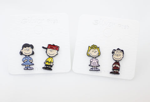 Cute the Peanuts Friends stud earrings, Charlie Brown and Lucy ,Linus and Sally