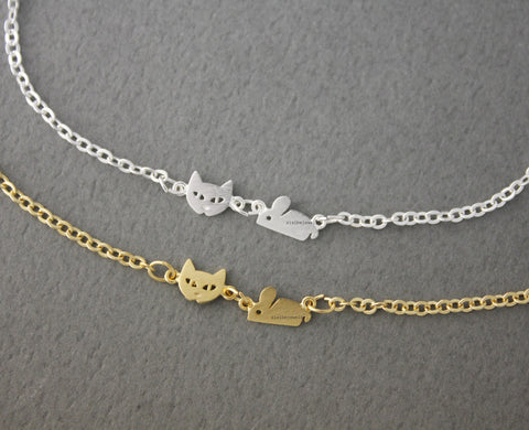 Cat and Mouse charm bracelet in 2 colors, B0572G