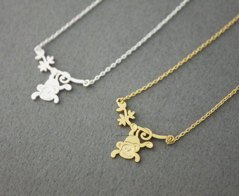Cute Monkey Hanging from Tree Necklace in 2 colors, N0574G