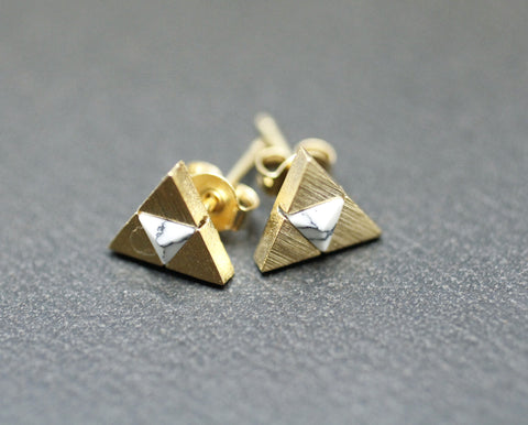 Tri Force Earrings detailed with white howlite