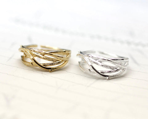 Twig Adjustable Ring in Gold / Silver(925 sterling silver / plated over Brass)