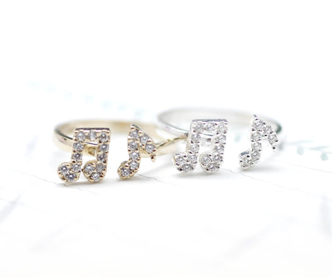 925 sterling silver Musical Note with CZ crystal Ring - Adjustable Ring
