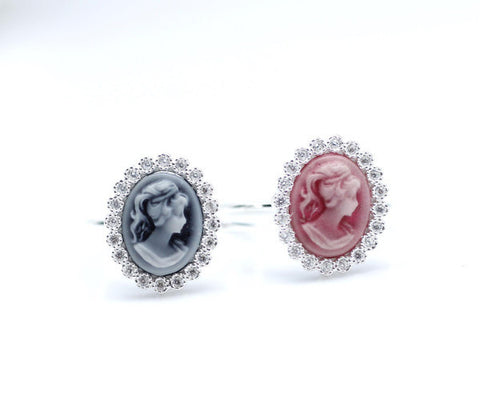 925 sterling silver Classic Cameo Ring detailed with CZ in Pink / Blue