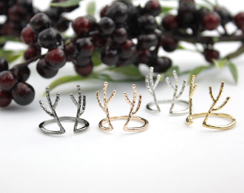 Antler ring, Deer ring, stag ring, horn ring, reindeer ring in Gold / Silver, R0111S