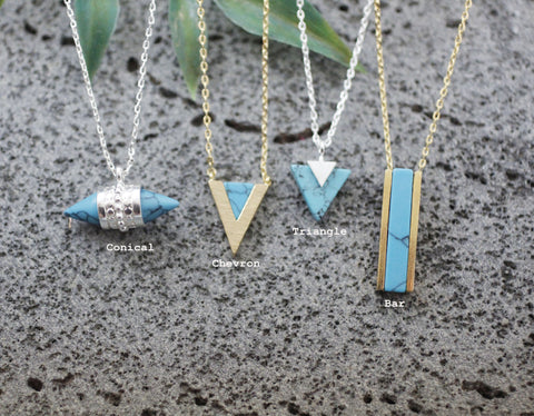 Various Figure geometry Turquoise Pendant Necklace ,Geometric Turquoise Necklace (triangle, bar, conical, chevron)