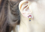 Cute the Peanuts Friends stud earrings, Charlie Brown and Snoopy Unbalance Earrings
