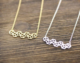 3D Tiny Cube Squares pendant Necklace in gold / silver, N0154G