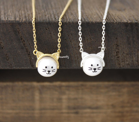 Cute Cat Face with Pearl Pendant Necklace in 2 colors, N0382G