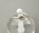 925 Sterling Silver A Leaf with tiny Pearl Ring, R0591S