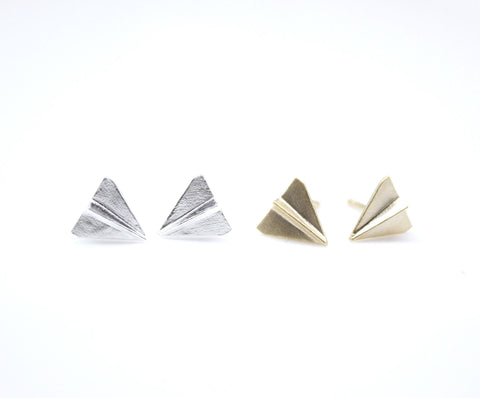 Paper Airplane stud Earrings in Gold / Silver