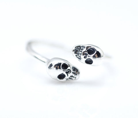 925 sterling silver 2 Tiny Double Skull Heads ring