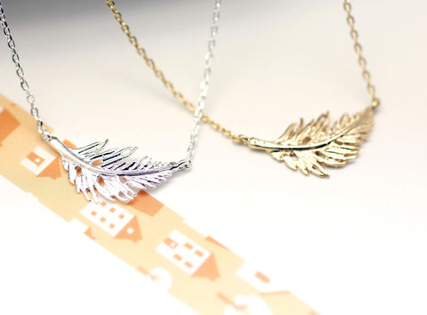 Feather Leaf Necklace in Gold / Silver,(925 sterling silver/plated over Brass) N0389K