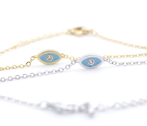 EVIL EYE Pendant Bracelet detailed in CZ setting Gold / Silver