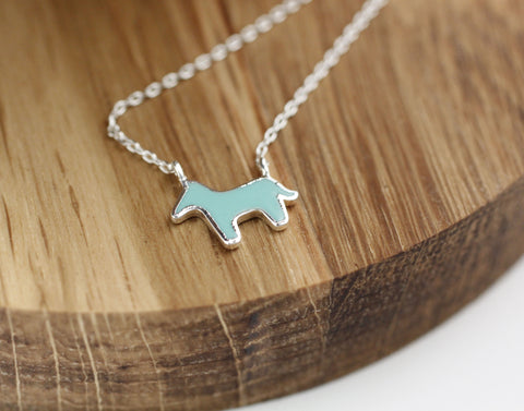 Dala HORSE ,Tiny Donkey enamel Charm Necklace  in silver/ gold