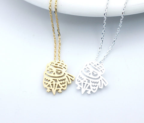 Cut-Out Muffler Owl necklace(gold /silver)