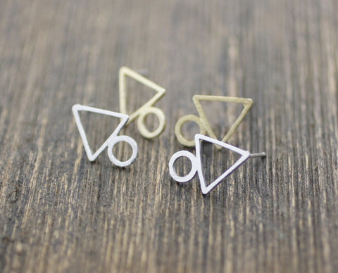 Triangle and Circle geometric earrings in 3 colors, E0197K