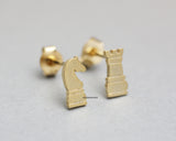 Chess Pieces stud Earrings/ Knight and Rook, Castle Knight Chess Earrings in silver/ gold , E0764G