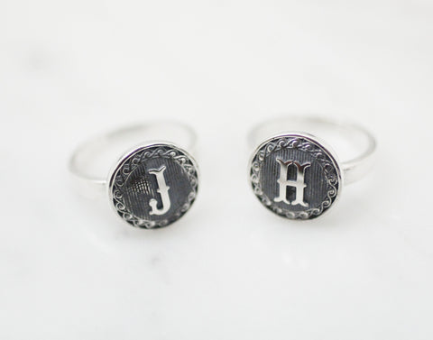 925 sterling silver Initial ring, Personalized initial ,Disc initial ring, Hand Stamped Ring