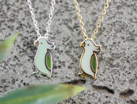 Tiny Green Parrot Pendant Necklace