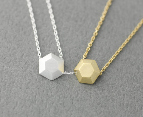 3D Tiny Hexagon charm pendant necklace in gold / silver, N0391G