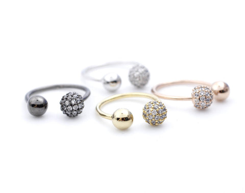 Knuckle stacking Cubic Ball Ring-Double Orbs Ring / Globe Ring