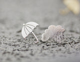 Rainy Day Cloud and Umbrella Earrings, Rain drop and Umbrella Stud Earrings