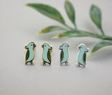 Tiny Green Parrot Stud Earrings