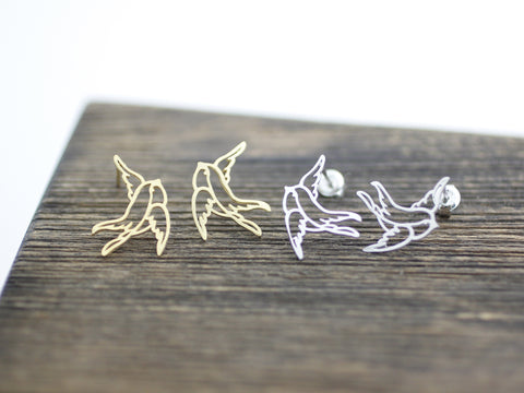 Cut-out  Swallow Bird  stud Earrings in 2 colors