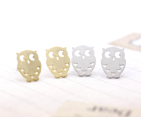 Owl studs earrings in silver and gold(925 sterling silver/plated over Brass)