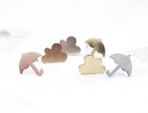 Grumpy little cloud and Umbrella Stud Earrings  in 3 colors