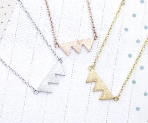 Triade triangle Necklace in 3 colors (925 sterling silver / plated over Brass)