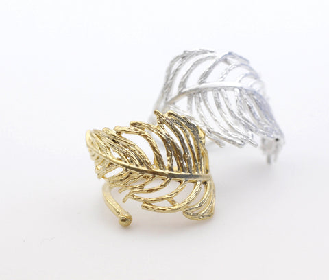 Feather Adjustable Ring-Gold / Silver