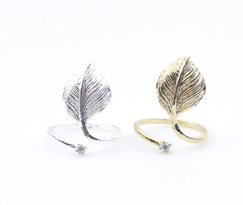 Leaf Knuckle Ring with Rhinestone (Adjustable Knuckle Ring)
