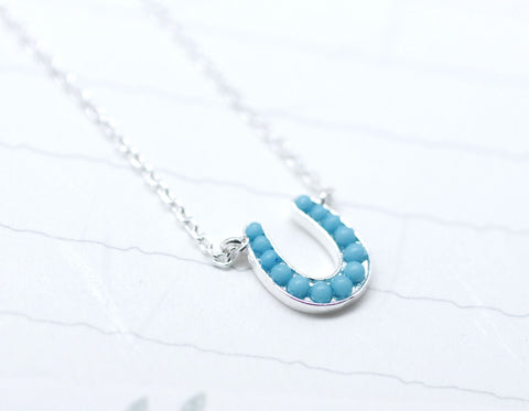 Silver Horseshoe with turquoise Necklace