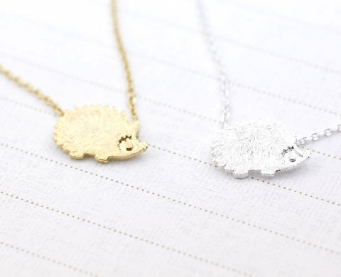Cute Hedgehog pendant necklace in silver/ gold
