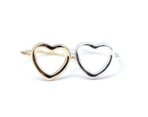 925 sterling silver Open Heart Ring in 2 colors