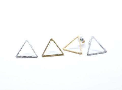 Open Trianlge Stud Earrings in Gold / Silver
