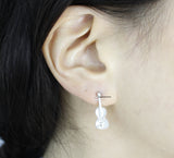 Lovely Trumpet and Violin studs unbalance earrings in Gold / Silver, E0765S