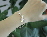 Multi Leaf Branch And Bird Dangling Bracelet in Gold / Silver, B0146G