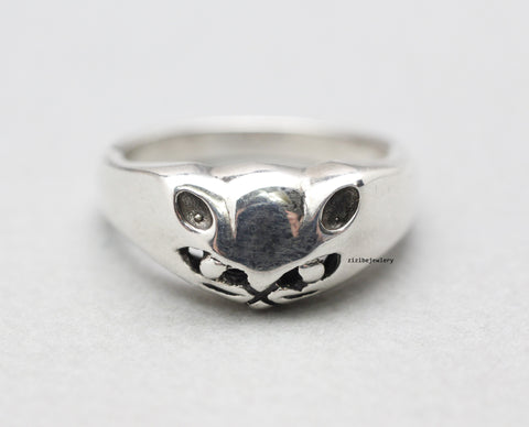 925 Sterling Silver Cat Face Ring , kitty cat ring, R0766S