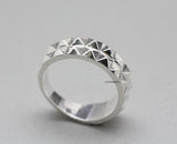 925 Sterling Silver 2 line Stud Ring , Pyramid Eternity Ring, R0770S