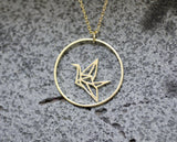 Origami Crane and Circle Necklace in gold / silver